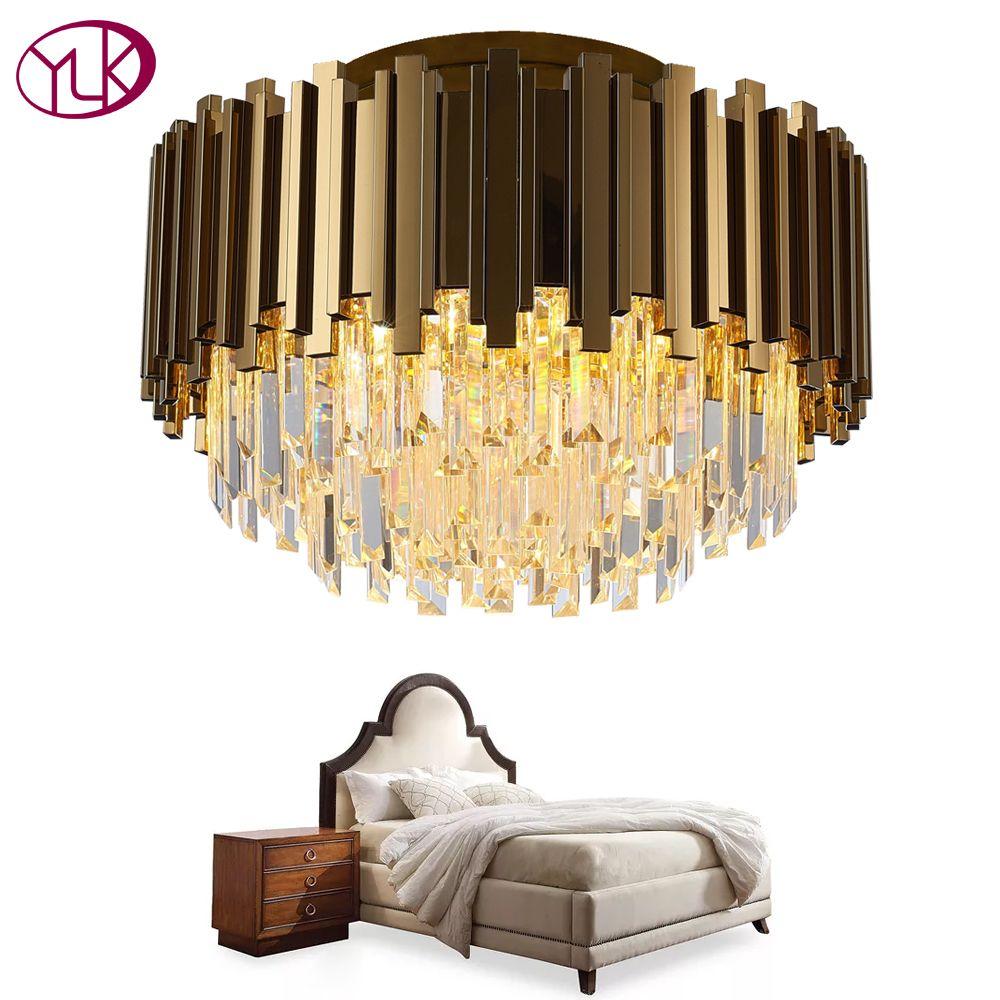 Youlaike Luxus Gold Kronleuchter Beleuchtung AC110-240V LED Cristal Lüster Für Decke Schlafzimmer Wohnzimmer Kristall Lampe
