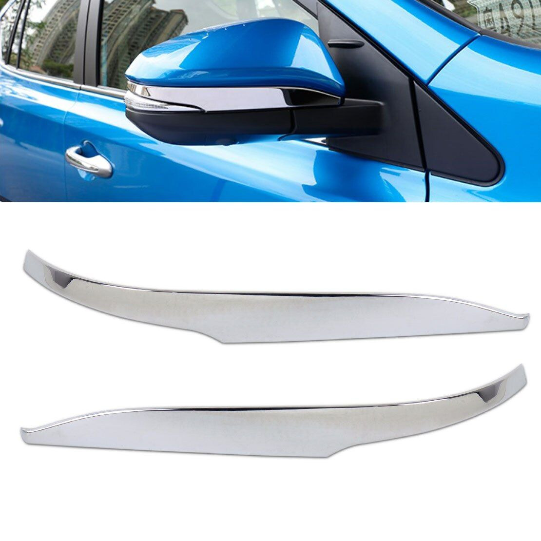 CITALL 2Pcs Car-styling Chrome Side Rearview Door Mirror Strip Cover Trim Cap Molding for Toyota RAV4 2013 2014 2015 2016 2017