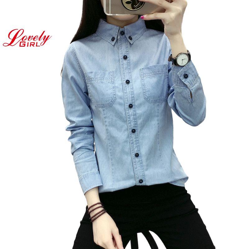 Chemise en Jean femme à manches longues chemises pour femmes hauts et chemisiers 2018 dame décontracté vêtements pour femmes Blusa Camisa Jeans Feminina