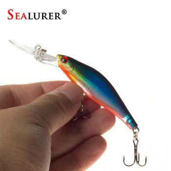 SEALURER 1 шт. лазерные воблеры рыболовные снасти 3D глаза тонущие Минноу Рыболовная Приманка Crankbait 6 # крючок