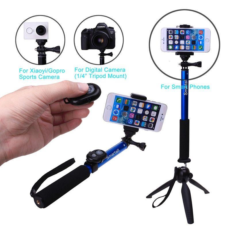 Pour iPhone pour Samsung S7 Edge S6 A8 A5 Z Note 9 8 S9 + J5 Bluetooth caméra obturateur Selfie bâton GOPRO monopode + YUNTENG trépied