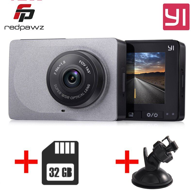 [International Edition] YI xiaomi Smart DashCamera  + 32G Card 2.7 Inch  DVR 165 Degree 1080P/60fps Video Recorder ADAS WiFi