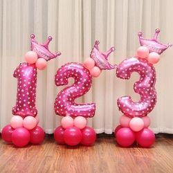 16 pulgadas figura número de dígitos hincha el globo de la hoja para el globo del feliz cumpleaños de la decoración