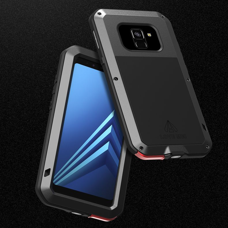 +Gorilla Glass Metal Case For Samsung Galaxy A8 2018 A6 Plus Shockproof 360 Full Body Armor Cover For Samsung A8 2018 Case Duo