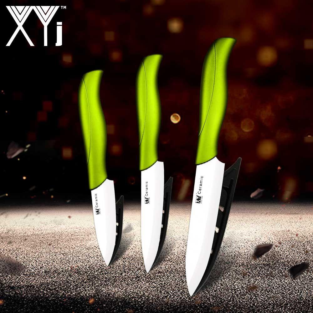 Ensemble de couteaux de cuisine en céramique XYj multi-couleurs ensemble de couteaux en céramique de cuisine en zircone 3 4 5 pouces + 3 accessoires de cuisine à gaine cadeau