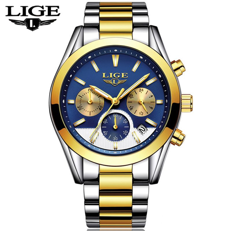 Mens Watches Top Brand Luxury LIGE Men's Fashion Business Quartz Watch Men Waterproof Full steel Sport Watch Relogio Masculino