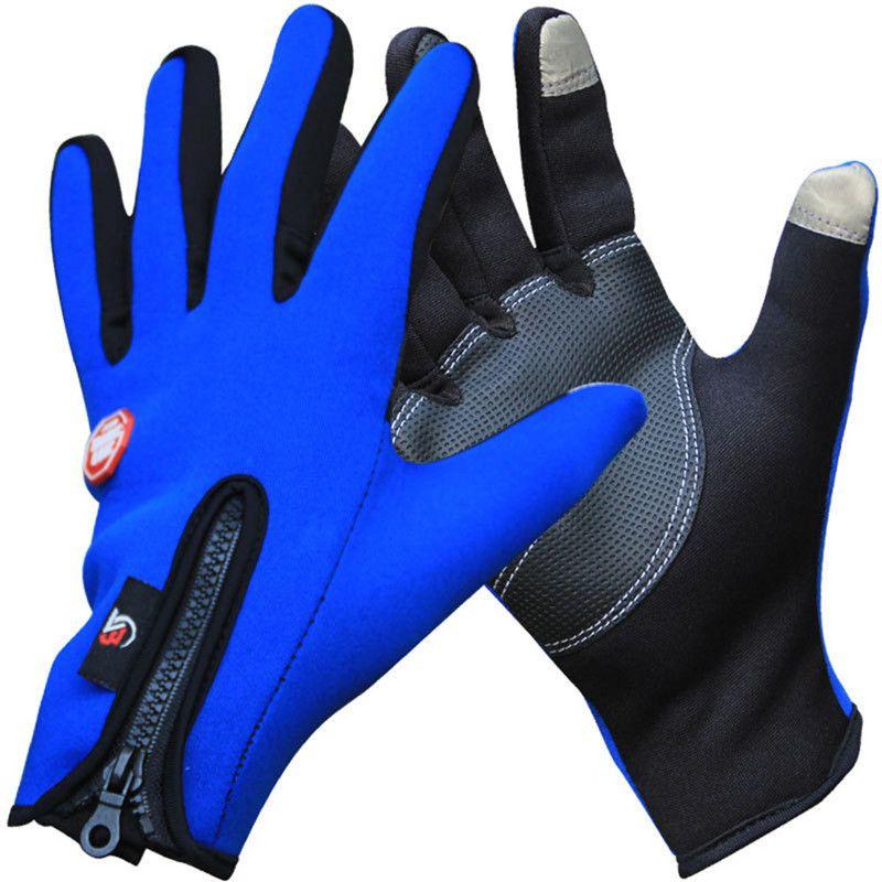 Al aire libre Deportes de Invierno Térmicas Bicicleta Guantes a prueba de Viento Caliente guantes de Ciclismo Dedo Completo, Ski, Motocicleta, Senderismo Guante para el Teléfono Pantalla táctil