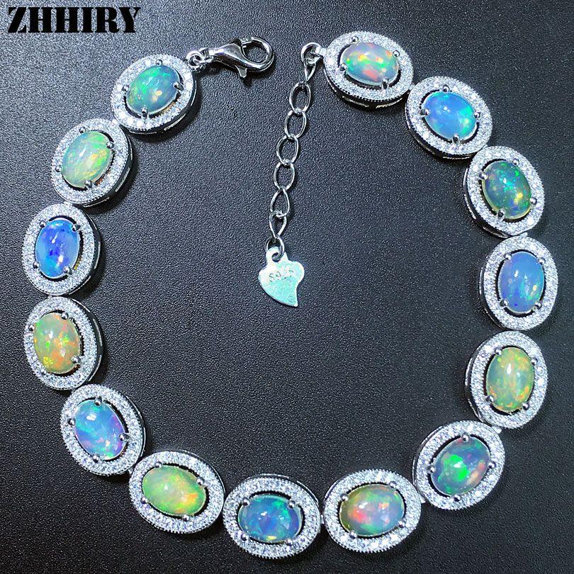 ZHHIRY femmes naturel opale Gem Bracelet véritable solide 925 en argent Sterling blanc feu couleur pierre précieuse bijoux fins