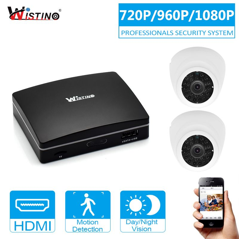 Wistino 2MP CCTV Security System Kit 2pcs IP Camera Outdoor 4CH Mini NVR Surveillance Monitor Kits H.265 Night Vision 1MP 1.3MP