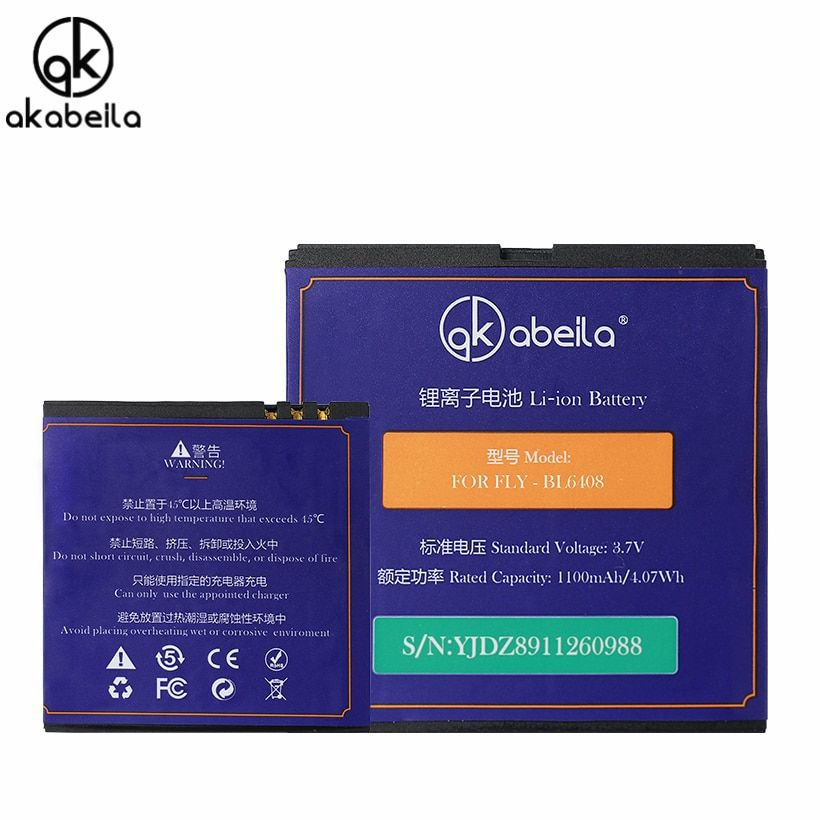 AKABEILA BL 6408 BL6408 Batterie Mobile Phone Battery For FLY iq239 iq 239 Bateria Rechargeable Replacement Li-on Batteries 3.7V