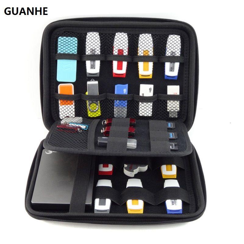 GUANHE GRANDE TAILLE USB Drive Organisateur Électronique Accessoires Cas/Disque Dur Sac 22*16*4.5 cm