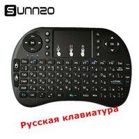 Mini teclado inalámbrico Rusia ratón aire Universal Control remoto Touchpad para Android TV Box A95X X96 M12 IMAC MAC