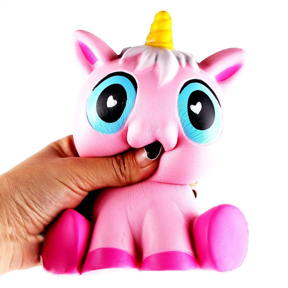 MUQGEW 14cm Lovely Pink Unicorn Cream Scented Squishy Christmas gifts Slow Rising Squeeze Toy For Kids Anti Stress Z06