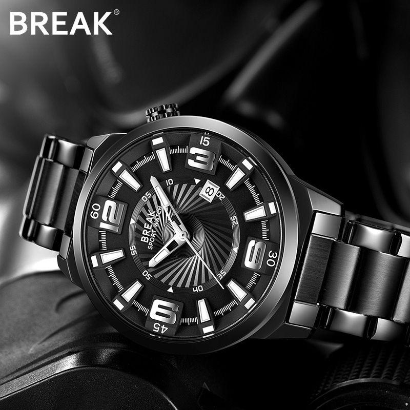 BREAK Men Top Luxury Brand Stainless Steel Band Fashion Casual Analog Quartz Sports Wristwatches Calendar Dress Gift Watches