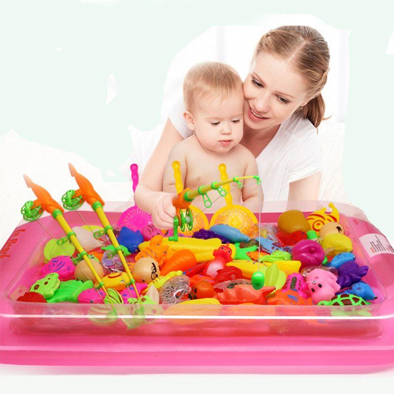40 unids/lote con piscina inflable magnética Pesca juguete Rod set Net para niños modelo jugar Pesca juegos al aire libre Juguetes