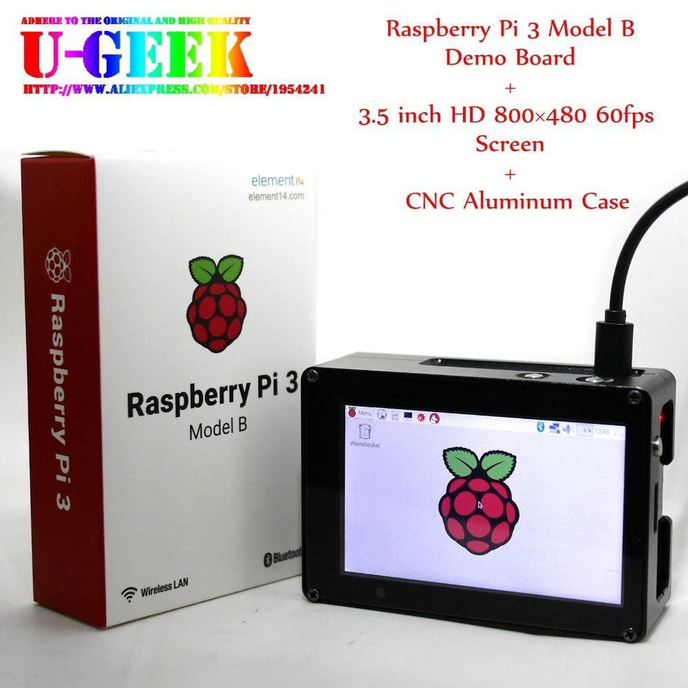 UGEEK Framboise Pi 3.5 pouce 800*480 HD TFT Écran + En Aluminium CNC cas + Raspberry Pi 3 Modèle B | Soutien IR | Kali | Retropie | OSMC | Kodi