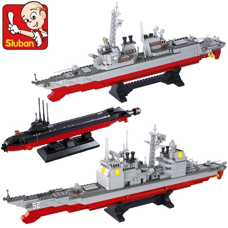 Marine battle Aircraft carrier group Cruiser The destroyer Nuclear submarines 3 in 1 building block set Construction Model Brick