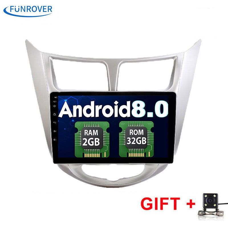 Funrover 2G+32G Android 8.0 2 DIN Car DVD GPS for Hyundai Solaris 2011 2012 2014 2015 2016 head unit radio video player wifi BT
