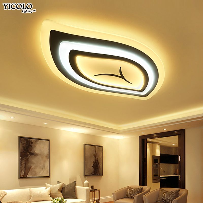 Modern Led Ceiling Lights remote control For Living Room Light Fixture leaf shape lamparas de techo abajur