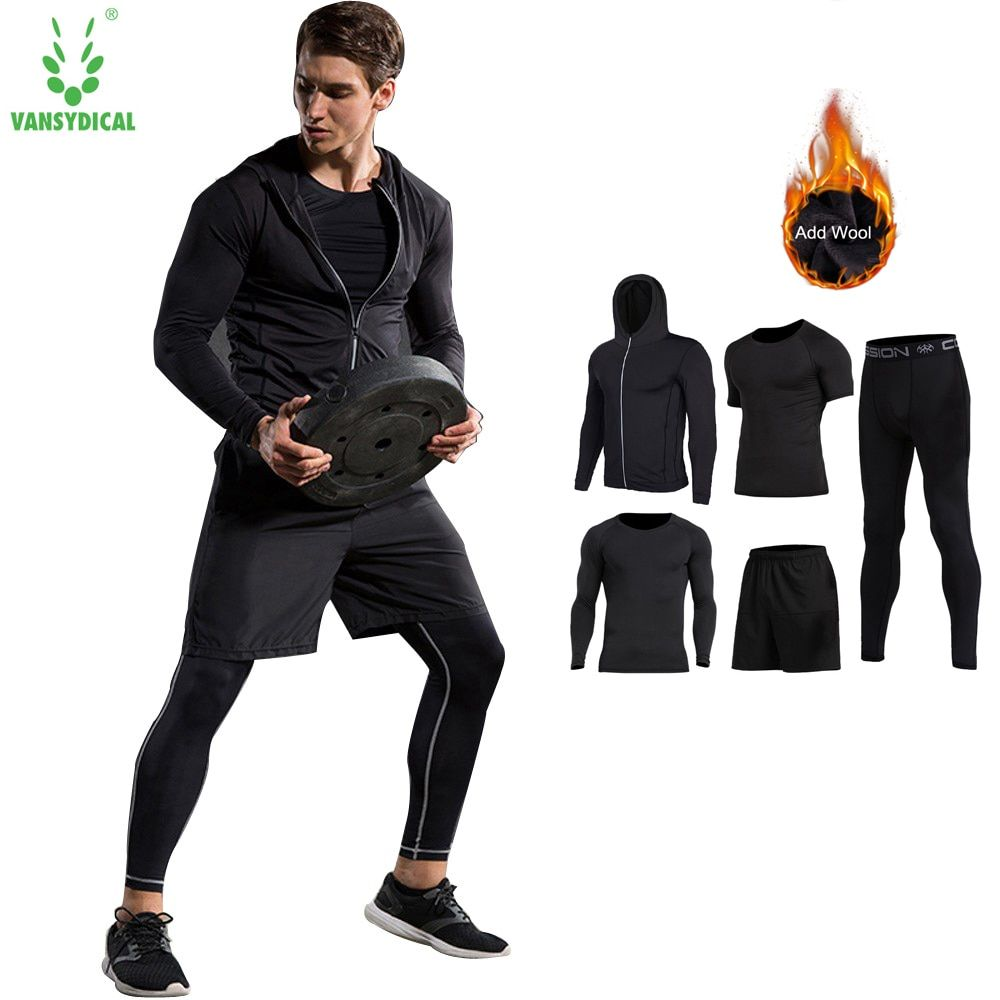 4pcs Vansydical New Men Compression Sport Suits Tights Skins Base Layers Basketball Shirts Pants For Gym Fitness Running Sets