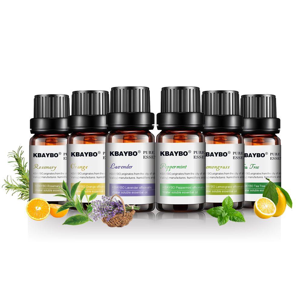 KBAYBO 10 ml * 6 bouteilles Pur huiles essentielles pour diffuseurs d'aromathérapie lavande arbre à thé citronnelle thé arbre romarin huile d'orange