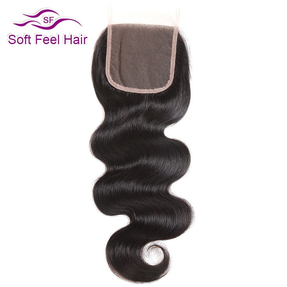 Soft Feel Hair Brazilian Body Wave Closure 4x4 Human Hair Lace Closure With Baby Hair Free Middle Three Part Remy Hair Closure