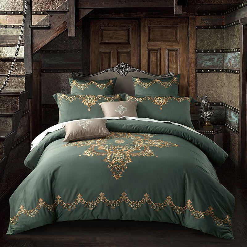 60SEgyptian Cotton Tribute silk Luxury Royal Bedding Set 4/6Pcs King Queen Size Wedding Bed Sheet set Duvet cover Pillowcases