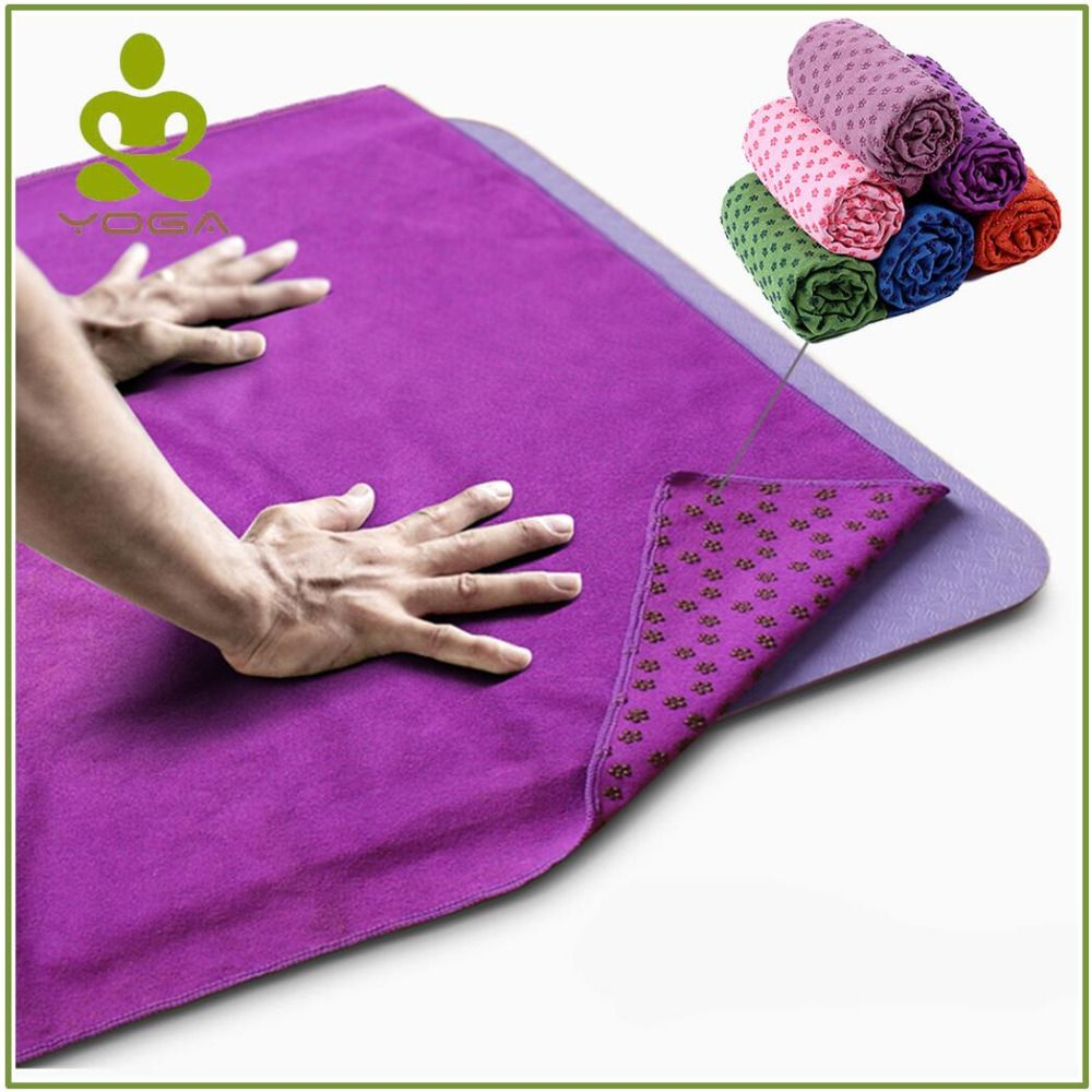 Non Slip Yoga Mat Cover Towel Anti <font><b>Skid</b></font> Microfiber Yoga Mat Size 183cm*61cm 72''x24'' Shop Towels Pilates Blankets Fitness