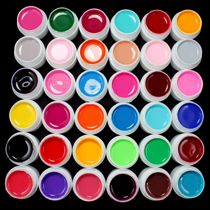 Professionnel 36 Pots Pur Couleur Décor Gel UV Longue Durée Peinture Nail Art Gel Polonais Manucure Maquillage Outils