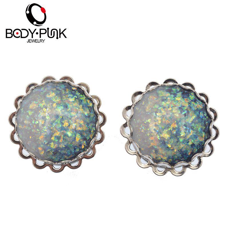 KÖRPER PUNK Heißer Verkauf Ohrstöpsel Edelstahl Weiß Blau Mix Opal Doppel Flare EarGauge Tunnel Piercing Schmuck Mode