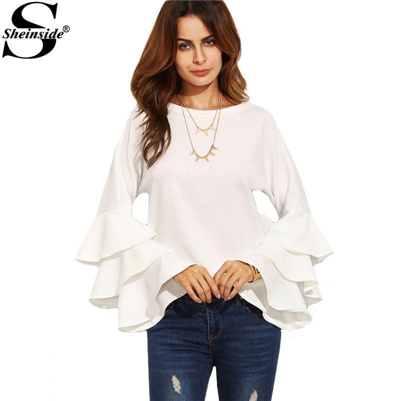 Sheinside White Round Neck Ruffle Long Sleeve Shirt Ladies Work Wear <font><b>Fashion</b></font> Tops Women Vogue Blouse