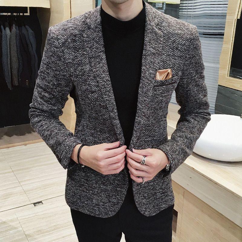 Izquierda ROM Nuevo 2018 hombres Boutique de Moda Vestido de Novia de Moda Color Puro de Los Hombres de Los Trajes Blazers Casual Traje de Negocios chaquetas