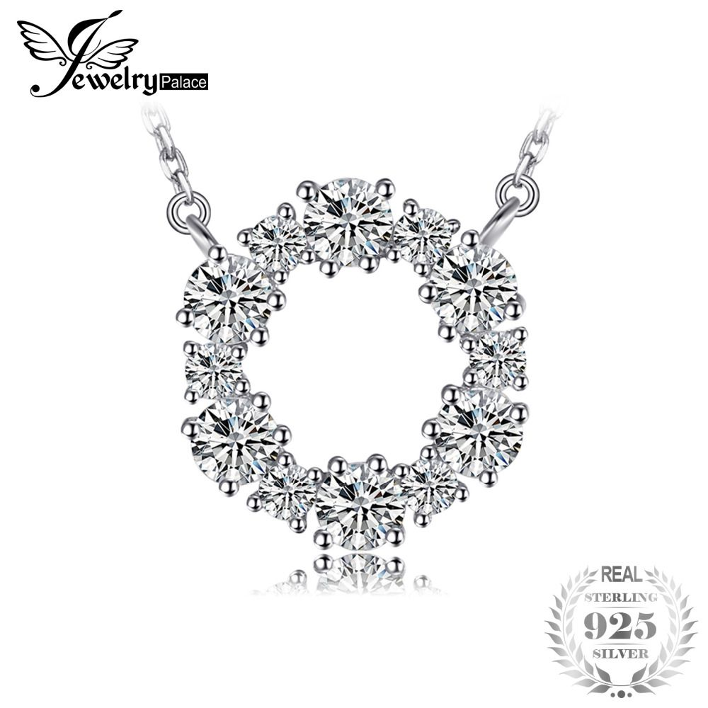JewelryPalace 925 Sterling Silver Circle Chain Pendant Collar Necklace 45cm Fine Jewelry Necklaces Nice Gift For Women