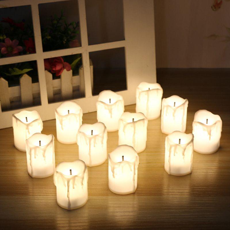 12 pcs/lot LED électrique à piles bougies chauffe-plat chauffe-plat blanc sans flamme thé bougies vacances fête mariage décoration de la maison