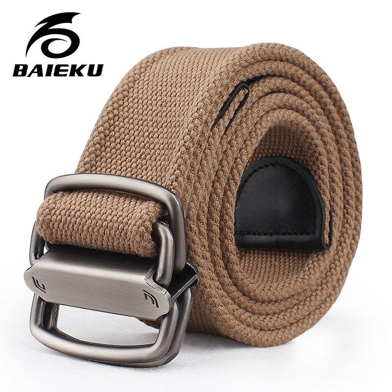 Baieku Jeunes hommes toile ceinture Personnalité 2-ring agio ceinture À La Mode large ceintures designer ceintures hommes haute qualité