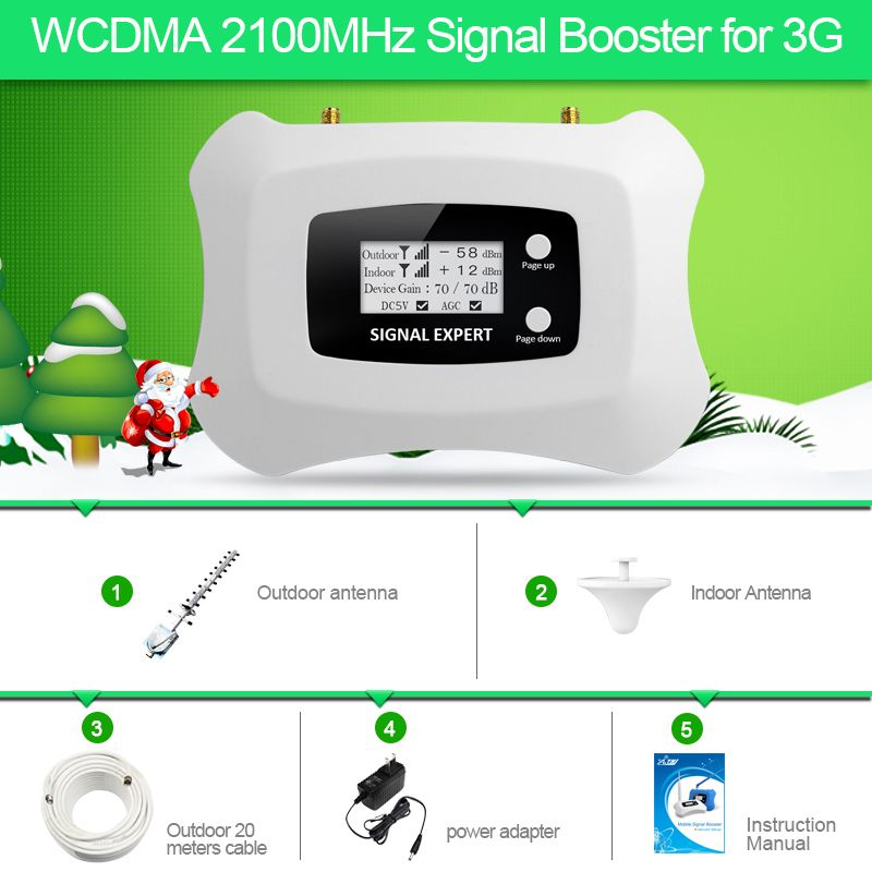Full kit Intelligent LCD display 3G 2100mhz WCDMA Repeater cellular signal booster amplifier 3g mobile Signal booster Amplifier