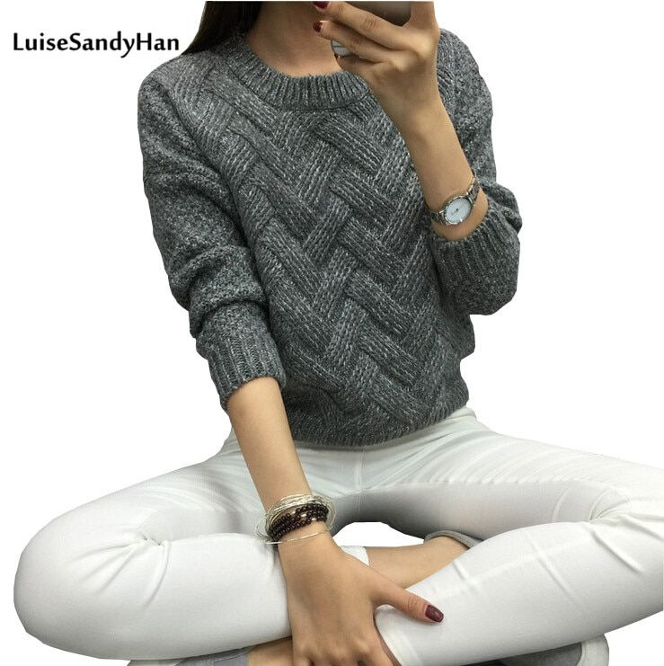 LuiseSandyHan 2018 Women Pullover Female Casual Sweater Plaid O-neck <font><b>Autumn</b></font> and Winter Style