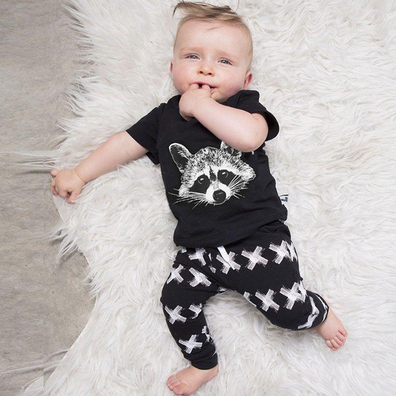 От 0 до 2 лет летняя футболка с короткими рукавами детские комплект для мальчиков хлопок черный белка печати Топы Корректирующие + XX Брюки дл...