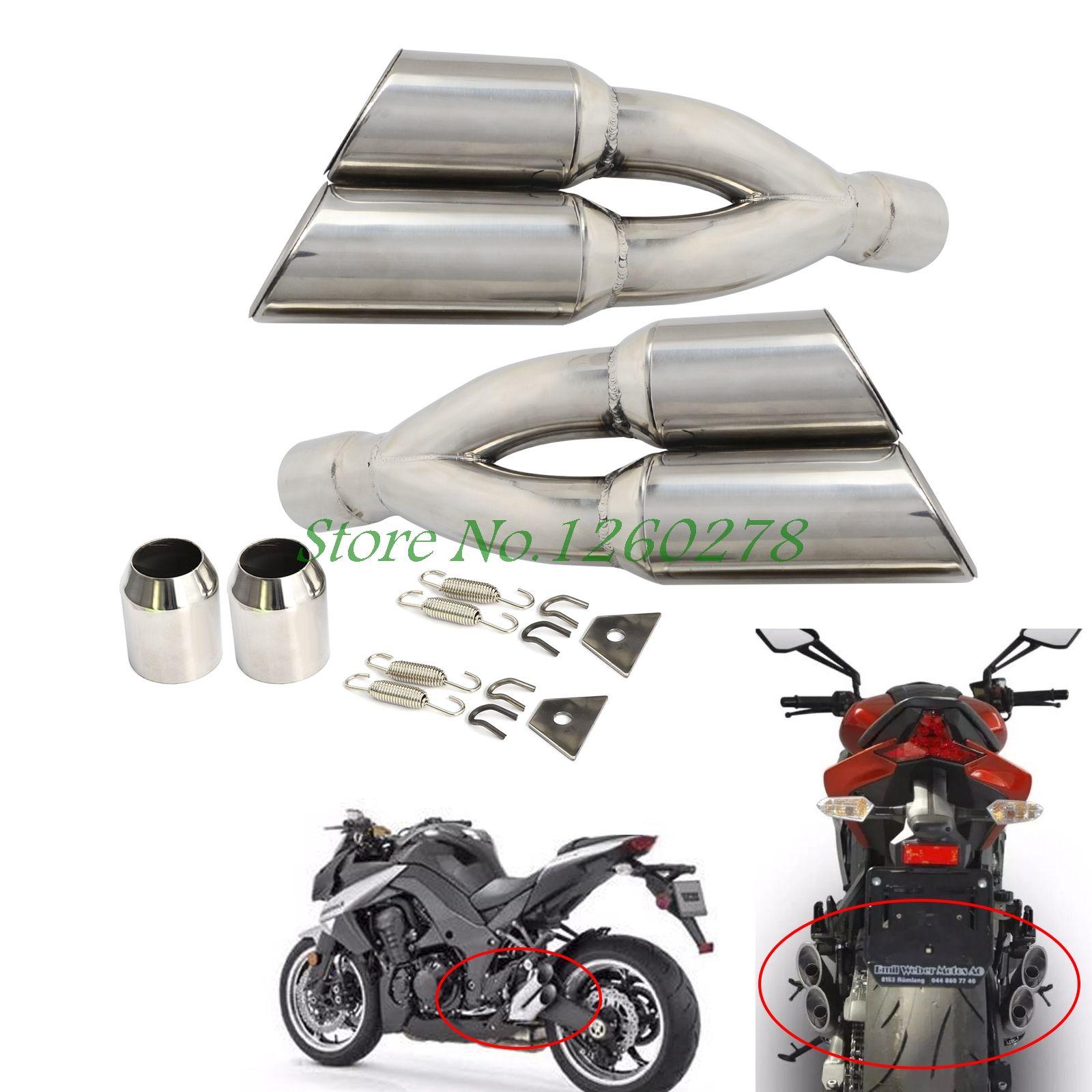 Universal Dual Exhaust Muffler Pipe Slip On For Motorcycle Motocross Supermoto Street Bike Scooter ATV Quad Dirt Bike Off Road