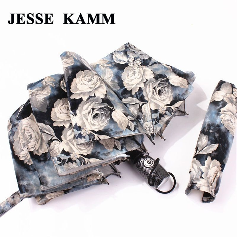 JESSE KAMM Big Strong For Two People Fully Automatic Compact Anti-UV Rain Sunshine Windproof Umbrellas For Women Ladies Fashion