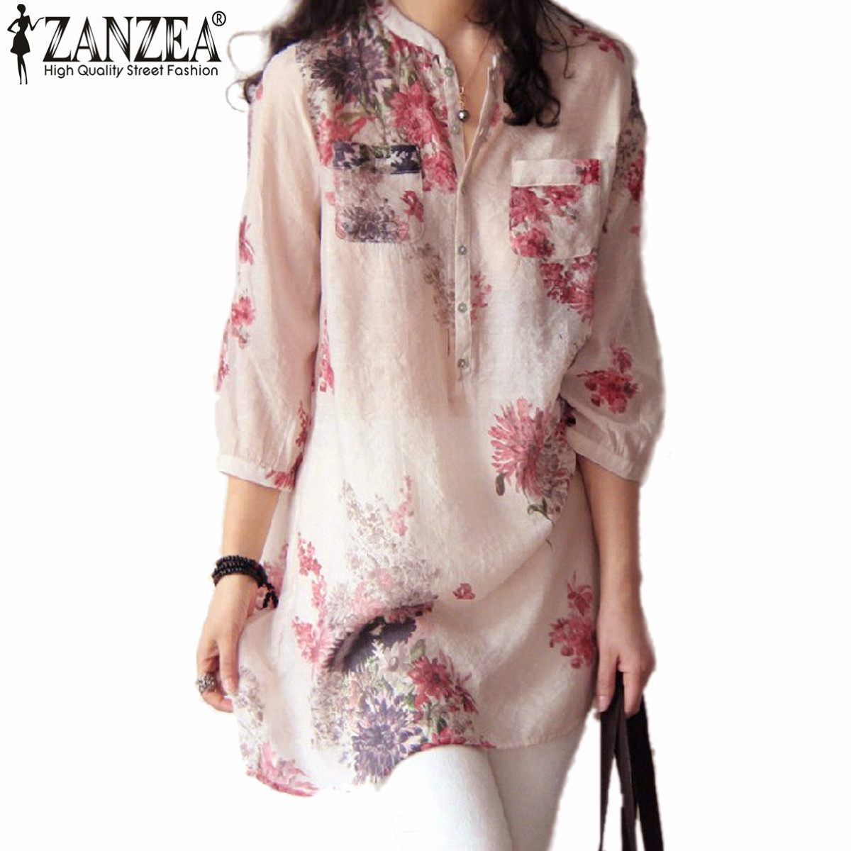 ZANZEA мода Blusas Femininas Лето 2017 г. Для женщин Блузки для малышек блузка Повседневное Цветочный принт Длинная блузка Футболка плюс Размеры 5xl