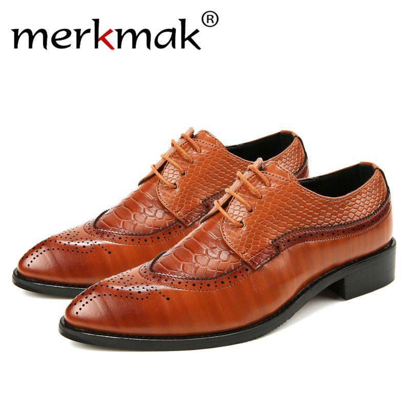 Merkmak 38-48 Fashion Leather shoes Men Dress Shoe Pointed Oxfords Shoes For Men Lace Up Designer Luxury Men Formal Shoes 2018