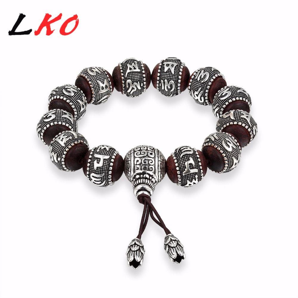 LKO S990 Santal Traditionnel Tibétain Bouddhisme Bracelet Hommes Six Mots Mantras OM MANI PADME HUM Vieilli Amulettes En Métal Perles