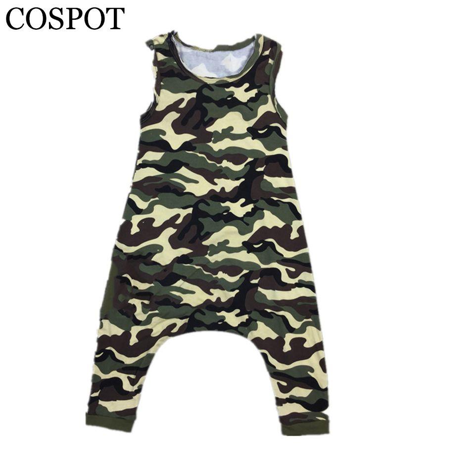 Baby Girls Boys Harem Rompers Kids Summer Camouflage Tank Jumpsuits Children Cotton Drop Crotch Short Jumper 2017 New F31