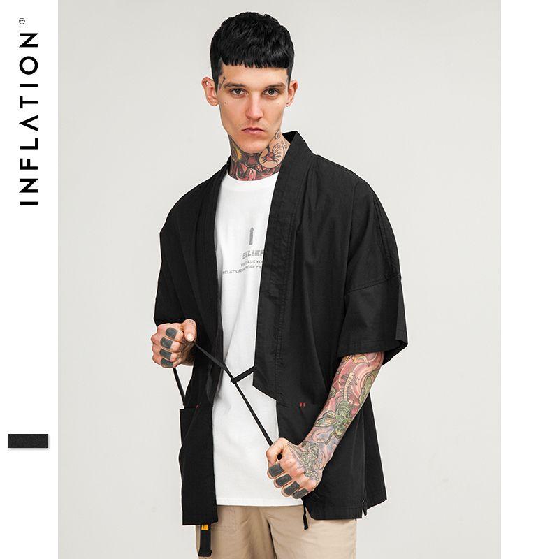 Инфляции 2018 свободное платье рубашка короткий рукав японские кимоно рубашка хлопок сплошной дизайнер рубашку для Для мужчин 8351 s