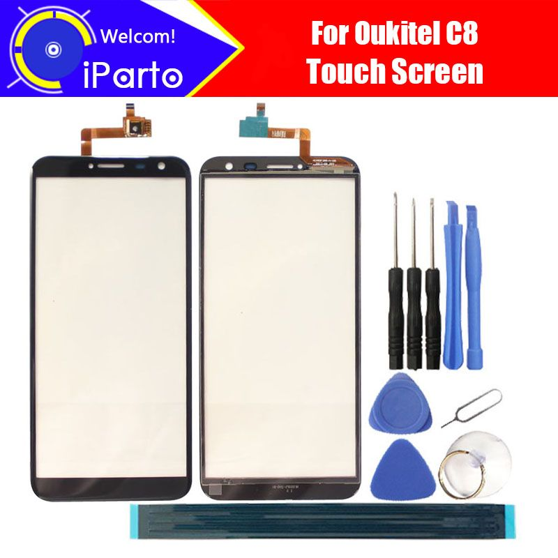 5.5 inch Oukitel C8 Touch Screen Glass Digitizer 100% Guarantee Original New Glass Panel Touch Screen For C8 + tools+Adhesive