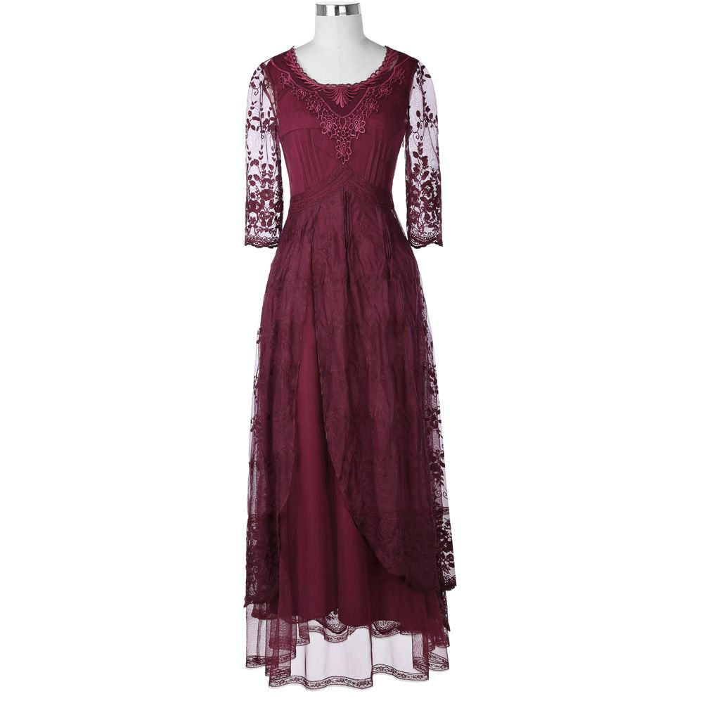 Belle Poque Medieval Retro Vintage Sexy Lace Women Evening Maxi Dress Female Gothic Victorian O-Neck Ankle-Length Elegant Robe