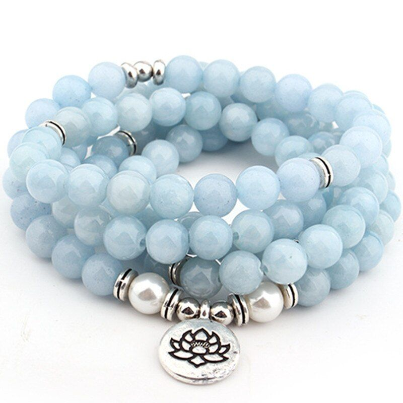 DIEZI Drop Shipping 2018 New Fashion 108 Mala Beads Sky Blue lotus Strand Bracelet Yoga Bracelet Necklace For Women Jewelry