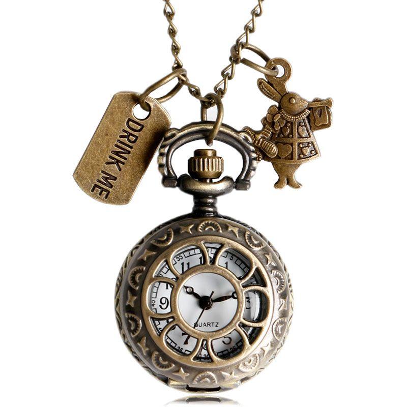 Alice In Wonderland Pocket Watch Rabbit Flower Hollow Drink Me And Rabbit Quartz Watches Pendant Women Mens Gifts