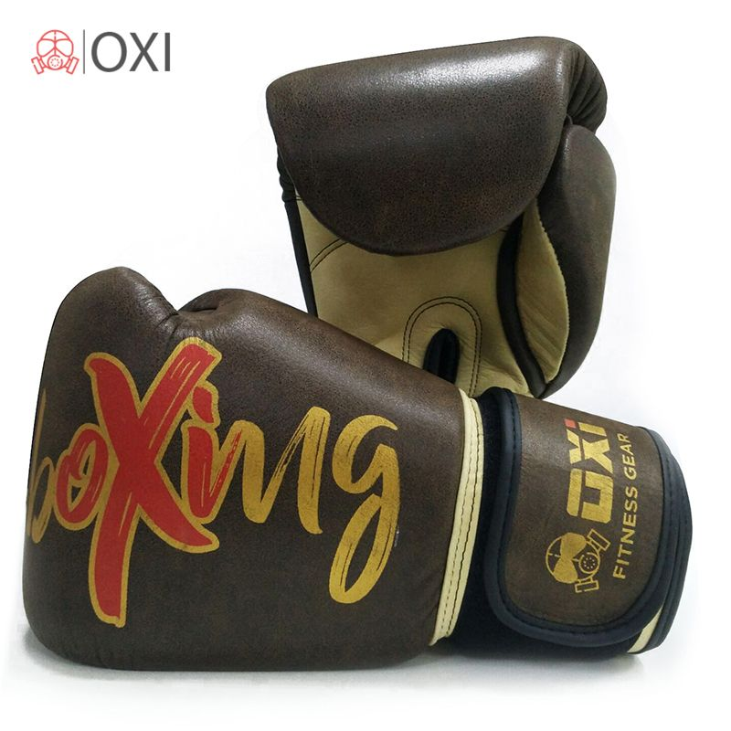 10OZ-16OZ OXI Genuine Cow-Hide Leather Boxing Gloves Fighting Professional Fitness Twin Retro Boxing MMA Gym Training Gloves